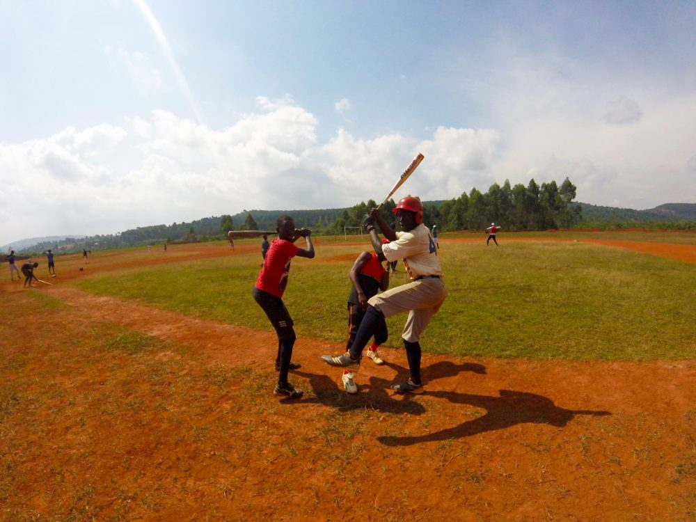 Kids enjoying the baseball field at the Allen VR Stanley Secondary School of Math and Science for the Athletically Talented near Kampala, Uganda. (Courtesy Evan Petty)