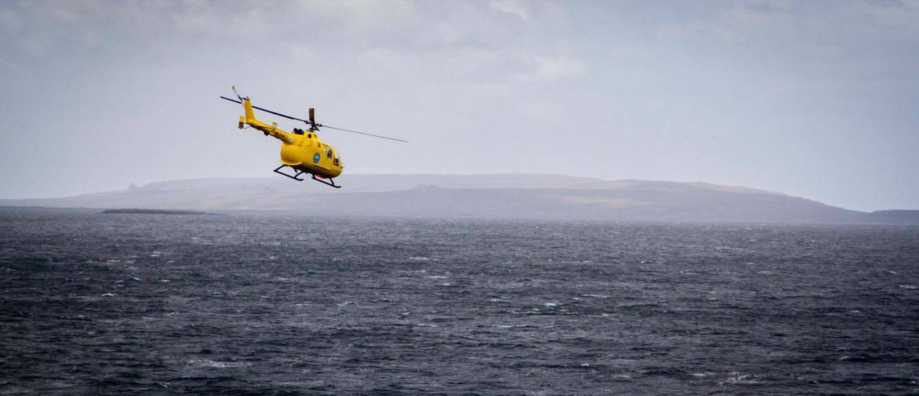 The first helicopter ride for Kerguelen. (Courtesy Parafilms/EPFL)
