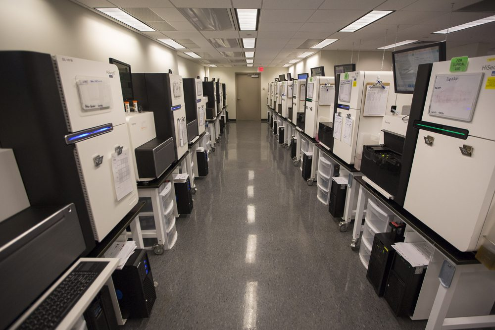 The Broad Institute's 50 DNA sequencing machines run non-stop, making it one of the most active sequencing sites in the world. (Jesse Costa/WBUR)
