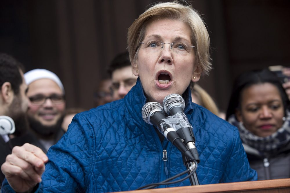 Sen. Elizabeth Warren spoke in Copley Square. (Jesse Costa/WBUR)