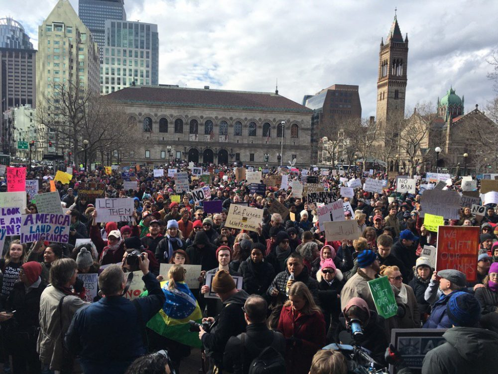 Crowds gather in Copley Square protesting President Trump's executive order on immigration. (Jesse Costa/WBUR)