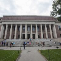 Widener Library in Harvard Yard. (Joe Difazio for WBUR)