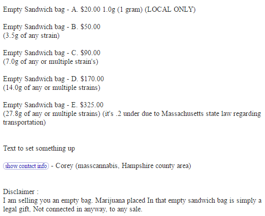 Craigslist Ads Sell Sandwich Bags For Up To 325 With Marijuana As A 39 Gift 39