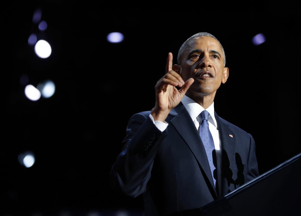 President Obama speaks during his farewell address Tuesday night in Chicago. (Pablo Martinez Monsivais/AP)