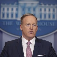 White House press Secretary Sean Spicer speaks during the daily White House briefing. (Pablo Martinez Monsivais/AP)