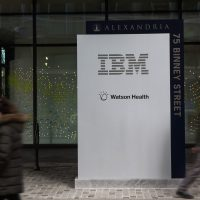 IBM Watson Health on Binney Street in Cambridge. (Jesse Costa/WBUR)