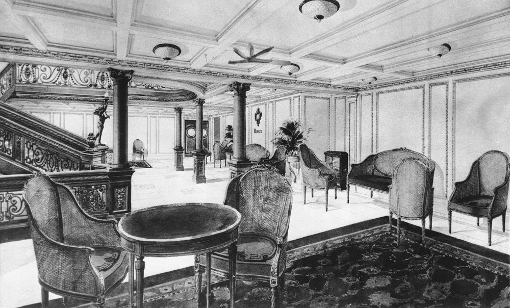 Interior view of the RMS Titanic, showing a restaurant reception room, date unknown. (AP Photo)