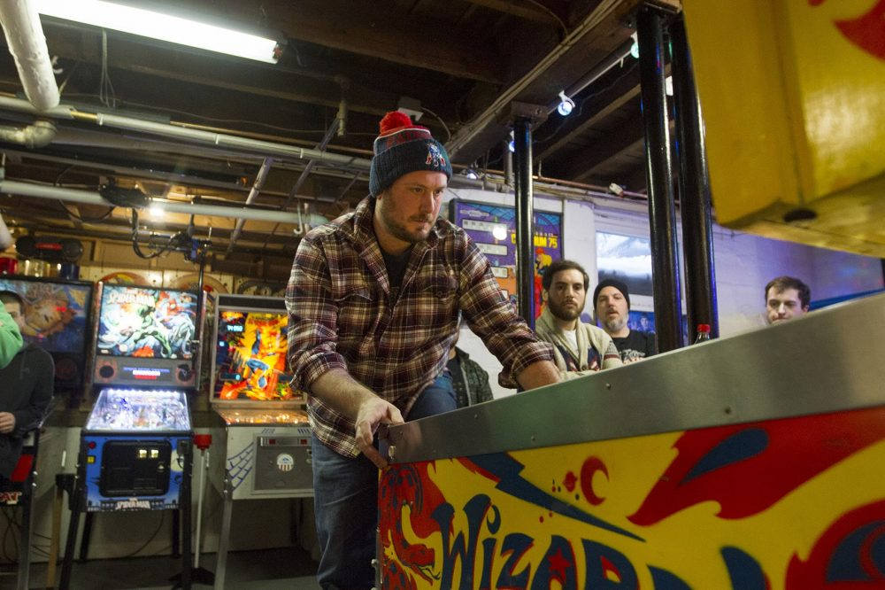 Mitch Curtis at the Wicked Pissa Pinball Pit (Joe Difazio for WBUR)