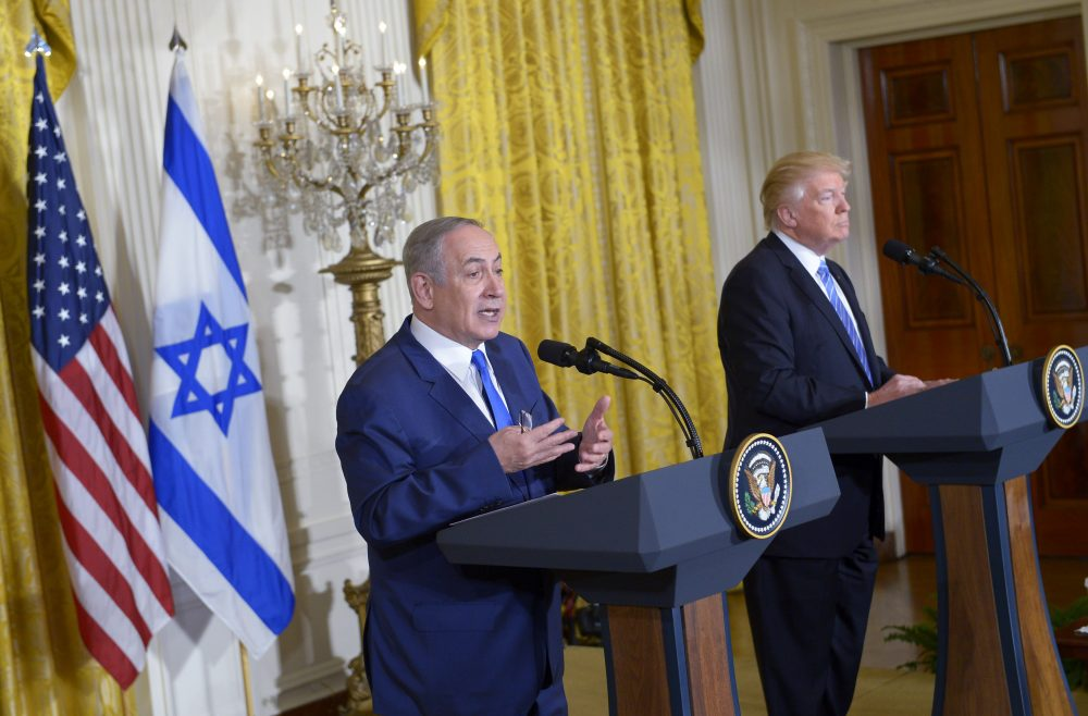 President Donald Trump (right) and Israeli Prime Minister Benjamin Netanyahu hold a joint press conference in the East Room of the White House in Washington, Feb. 15, 2017. (Mandel Ngan/AFP/Getty Images)