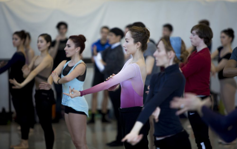 "Boston Ballet dancers rehearse for ""Artifact,"" which premieres on Feb. 23. (Jesse Costa/WBUR)"
