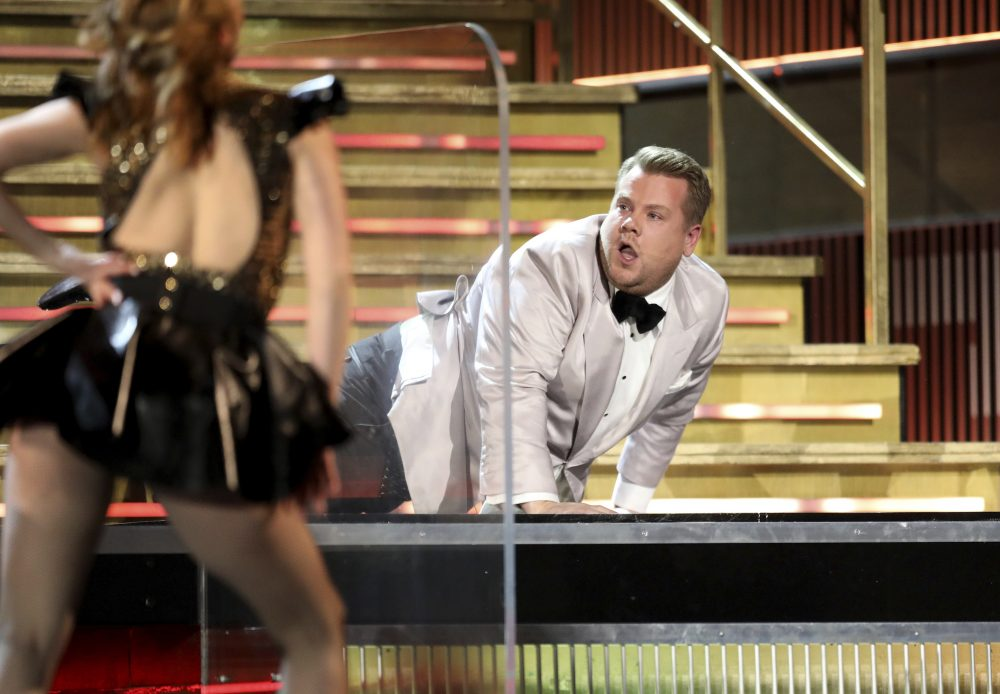 Host James Corden performs a skit during the ceremony Sunday night. (Matt Sayles/Invision/AP)