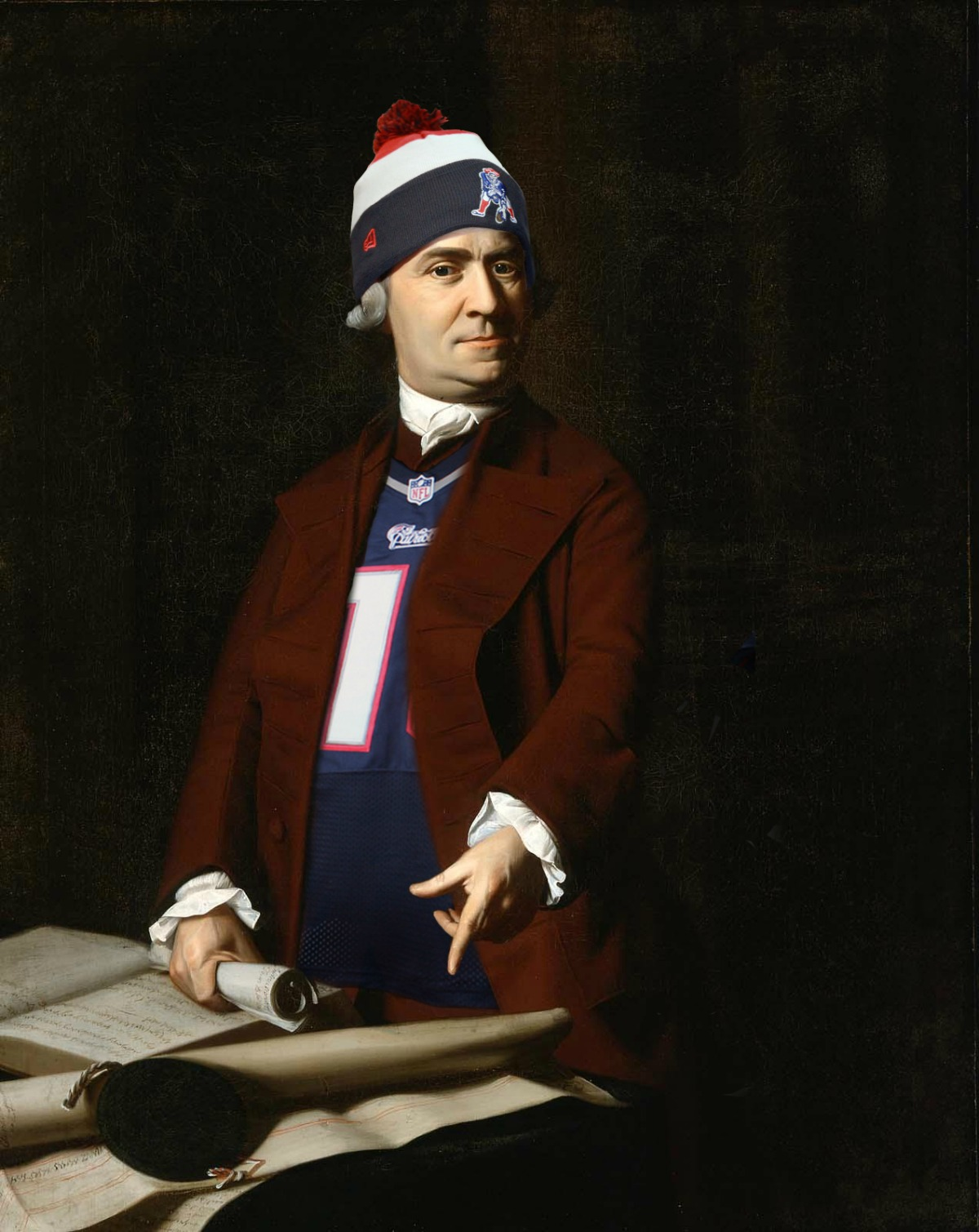 Patriot Sam Adams dons Patriots&#x27 gear as part of a contest between Boston's Museum of Fine Arts and Atlanta's High Museum of Art