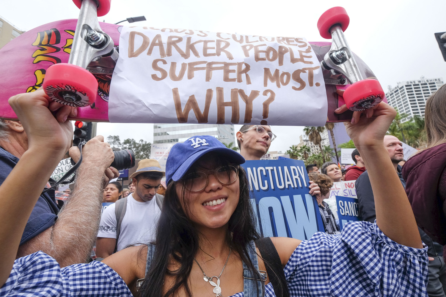 Thousands of people take part in the ``Free the People Immigration March,'' to protest actions taken by President Donald Trump and his administration, in Los Angeles. (Ringo H.W. Chiu/AP)