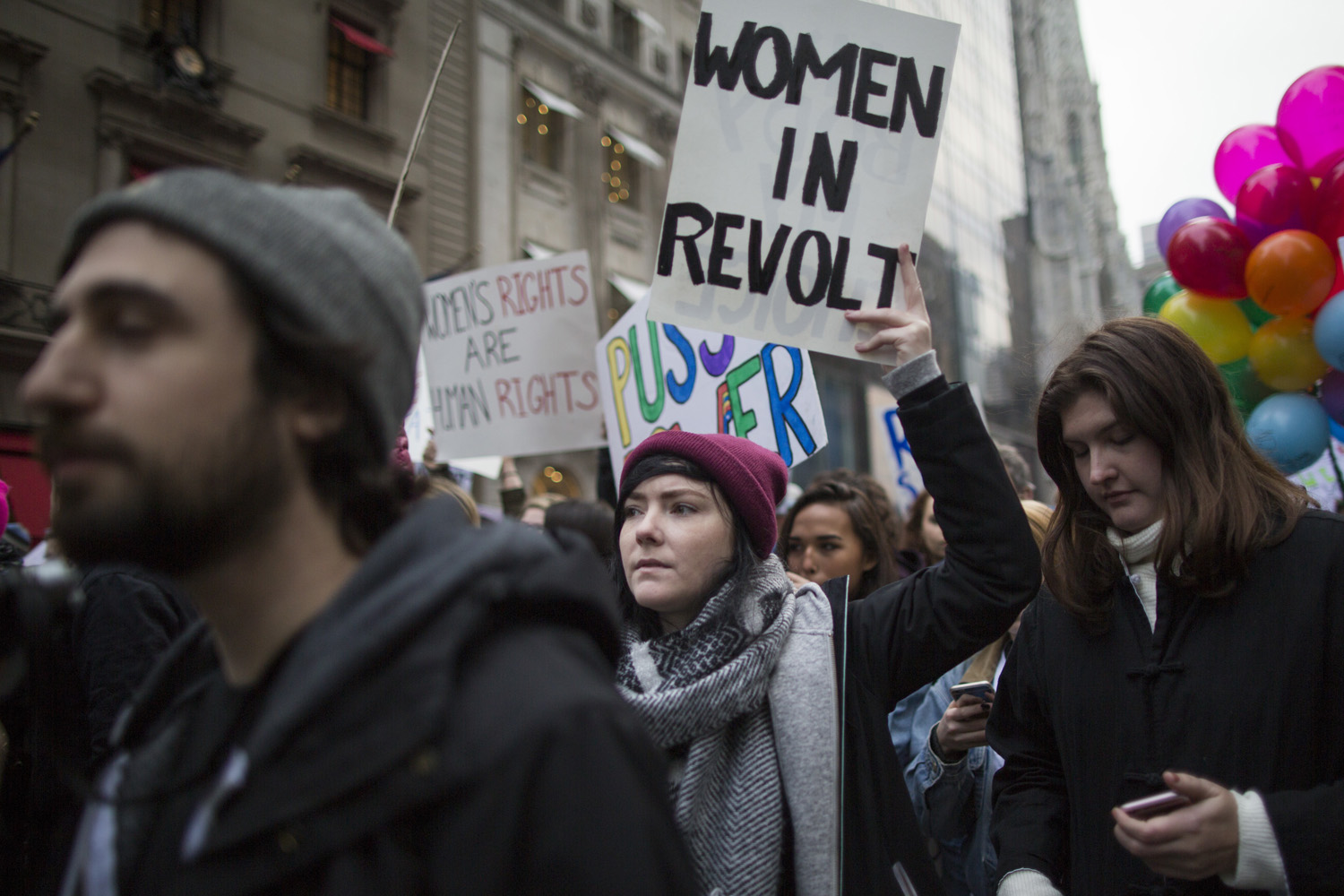 Demonstrators march up 5th Avenue during a women's march, Saturday, Jan. 21, 2017, in New York. (Mary Altaffer/AP)