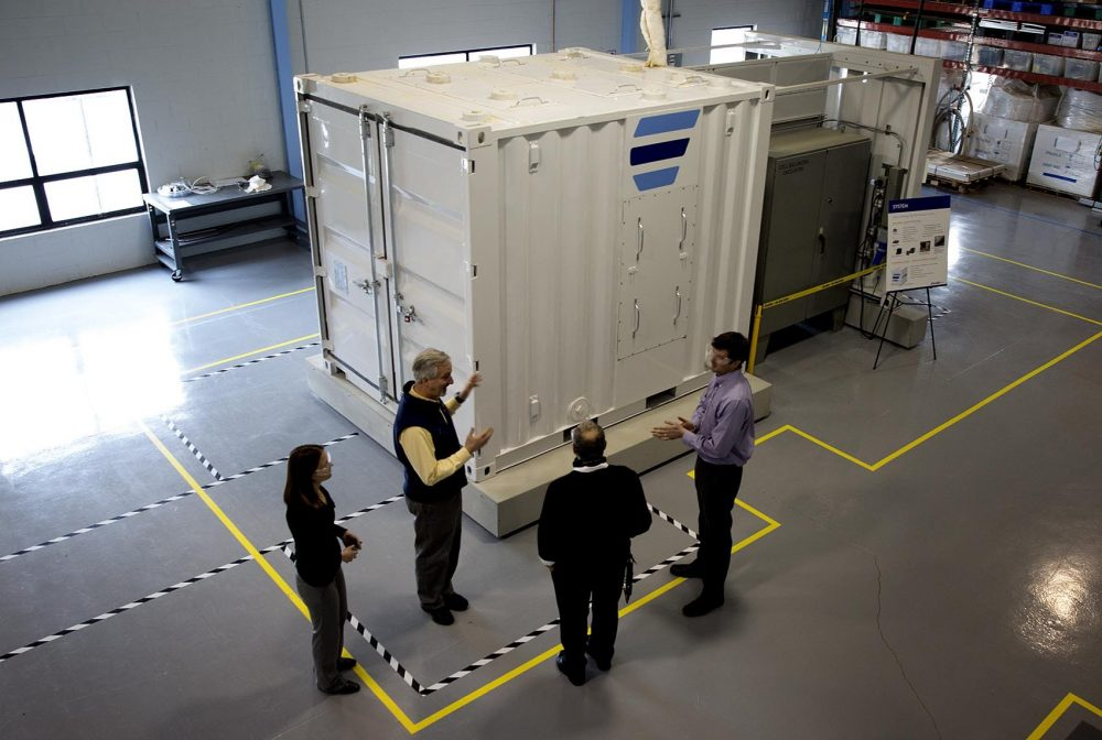 Ambri has constructed a 432-cell, 20-kilowatt-hour working prototype at their facility in Marlborough. (Robin Lubbock/WBUR)