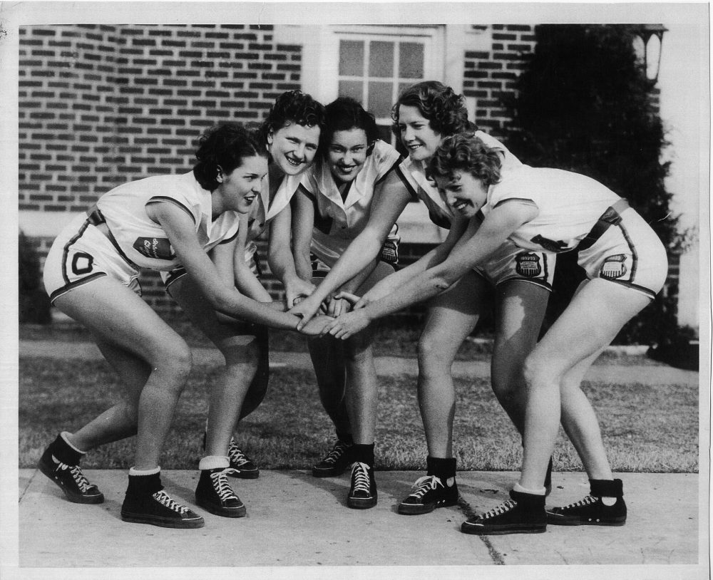 Members of the Oklahoma Presbyterian College Cardinals. From left to right: La Homa Lassiter, Ernestine Lampson, Lucille Thurman, Hazel Vickers, and Coral Workley. (Truby Studio, Durant, Okla.)