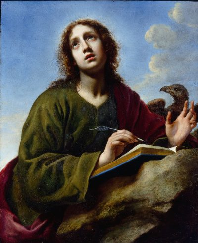 "Carlo Dolci's ""Saint John the Evangelist Writing the Book of Revelation,"" late 1640s. (Courtesy of the Davis Museum at Wellesley College)"
