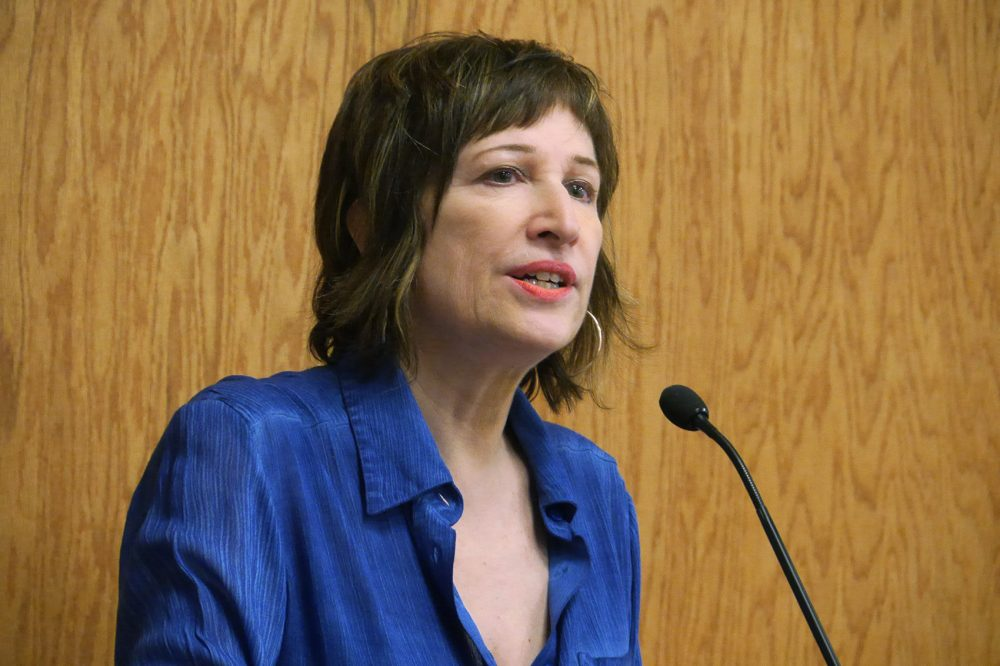 Laura Kipnis speaking at Wellesley College on Wednesday. In 2015, Kipnis wrote an essay describing what she called a climate of paranoia around sex and relationships at Northwestern University. (Max Larkin/WBUR)