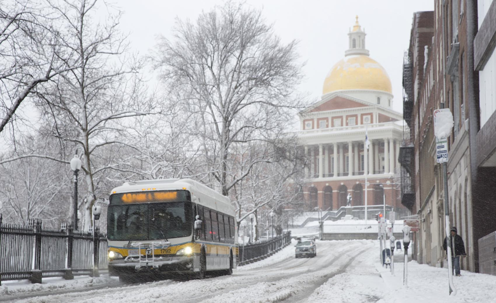 The State House  is seen during Tuesday's storm. (Robin Lubbock/WBUR)