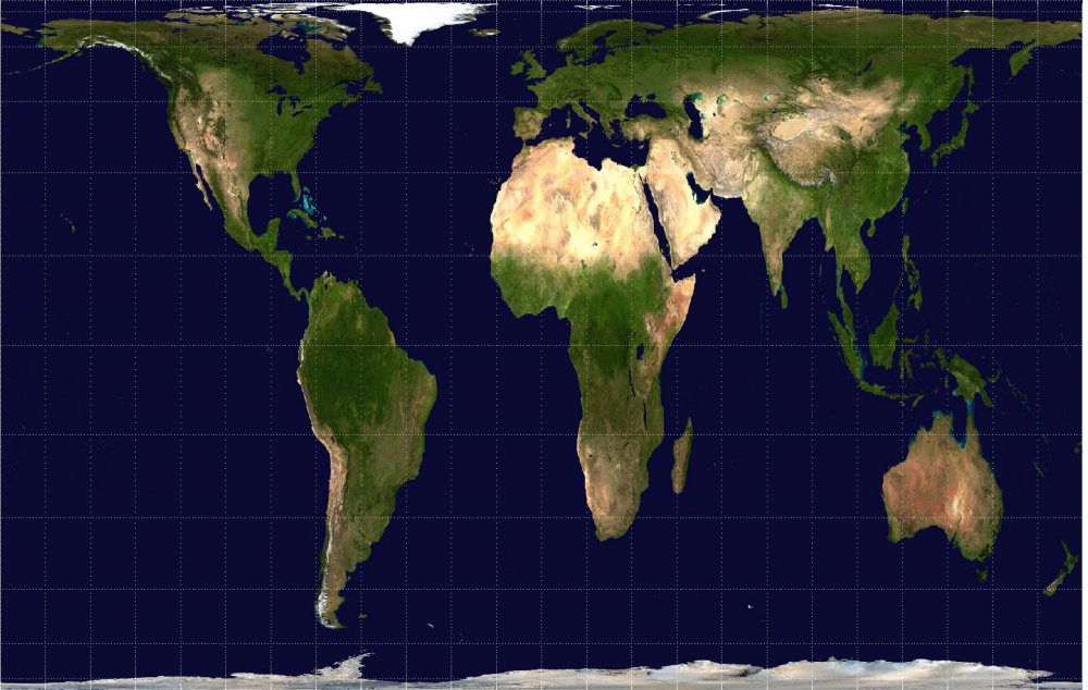 The Gall-Peters projection map keeps the land masses of continents proportional to how they actually appear in reality. Yes, South America, Africa and Australia really are that big. (Wikimedia Commons)