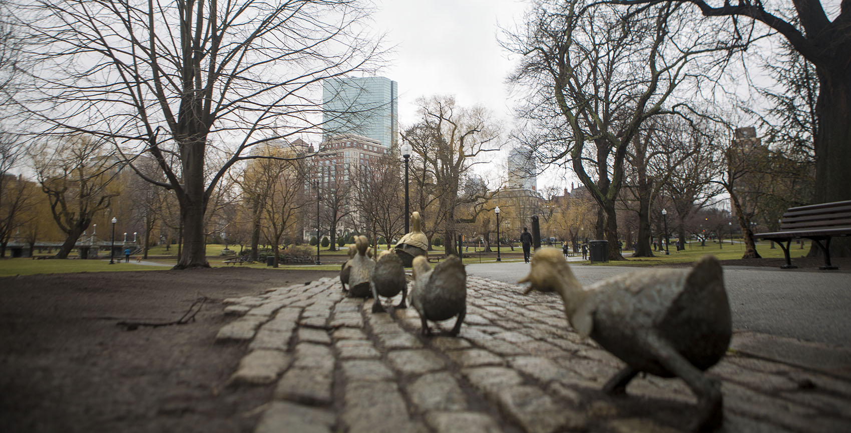 "Boston's ""Make Way For Ducklings"" sculpture was installed in 1987. Moscow residents received their own version in 1991. (Jesse Costa/WBUR)"