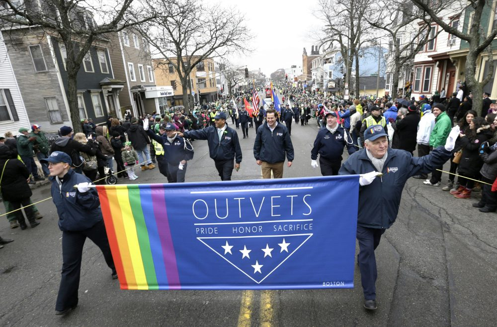 "Tom Keane: ""What on the political scene could possibly have prompted a reversal?"" OutVets march during the St. Patrick's Day parade on March 15, 2015. (Steven Senne/AP)"