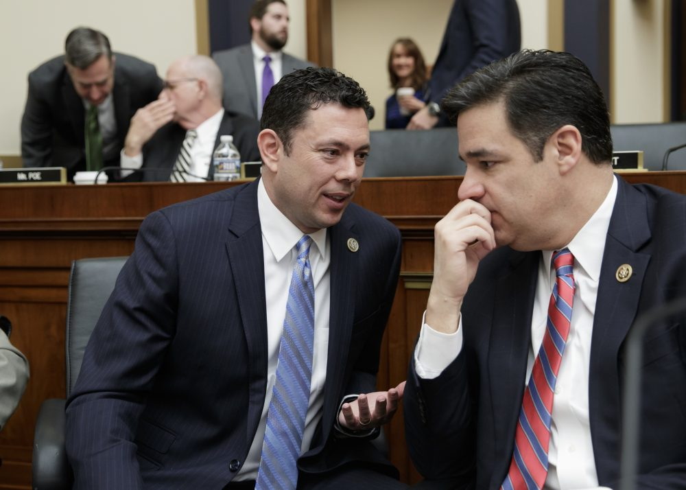The Republican plan, writes Janna Malamud Smith, pits the lower-middle class and the poor against the very poor. Pictured: Rep. Jason Chaffetz, R-Utah, left, confers with Rep. Raul Labrador, R-Idaho, as the House Judiciary Committee begins a markup session on the Protecting Access to Care Act on Capitol Hill in Washington, Tuesday, Feb. 28, 2017. (J. Scott Applewhite/AP)