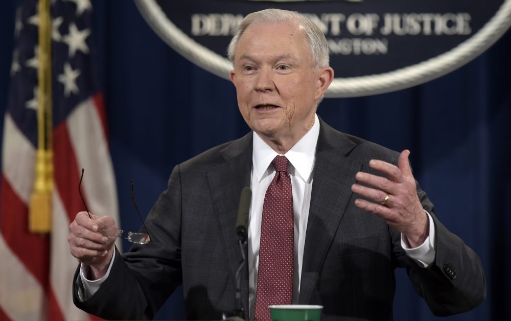 In this March 2, 2017, photo, Attorney General Jeff Sessions speaks during a news conference at the Justice Department. (AP Photo/Susan Walsh)