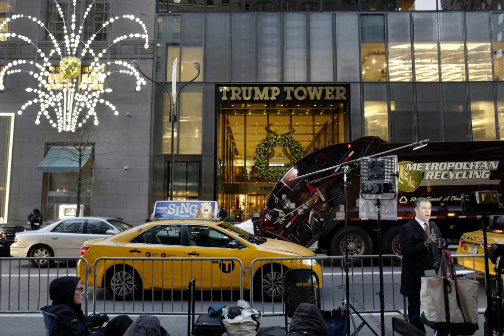 "Pictured: Trump Tower in December, 2016. President Donald Trump claimed in a series of early morning tweets over the weekend that his predecessor had ordered that his phones in Trump Tower be monitored in October, suggesting that ""a good lawyer could make a great case"" out of it. (Mark Lennihan/AP)"