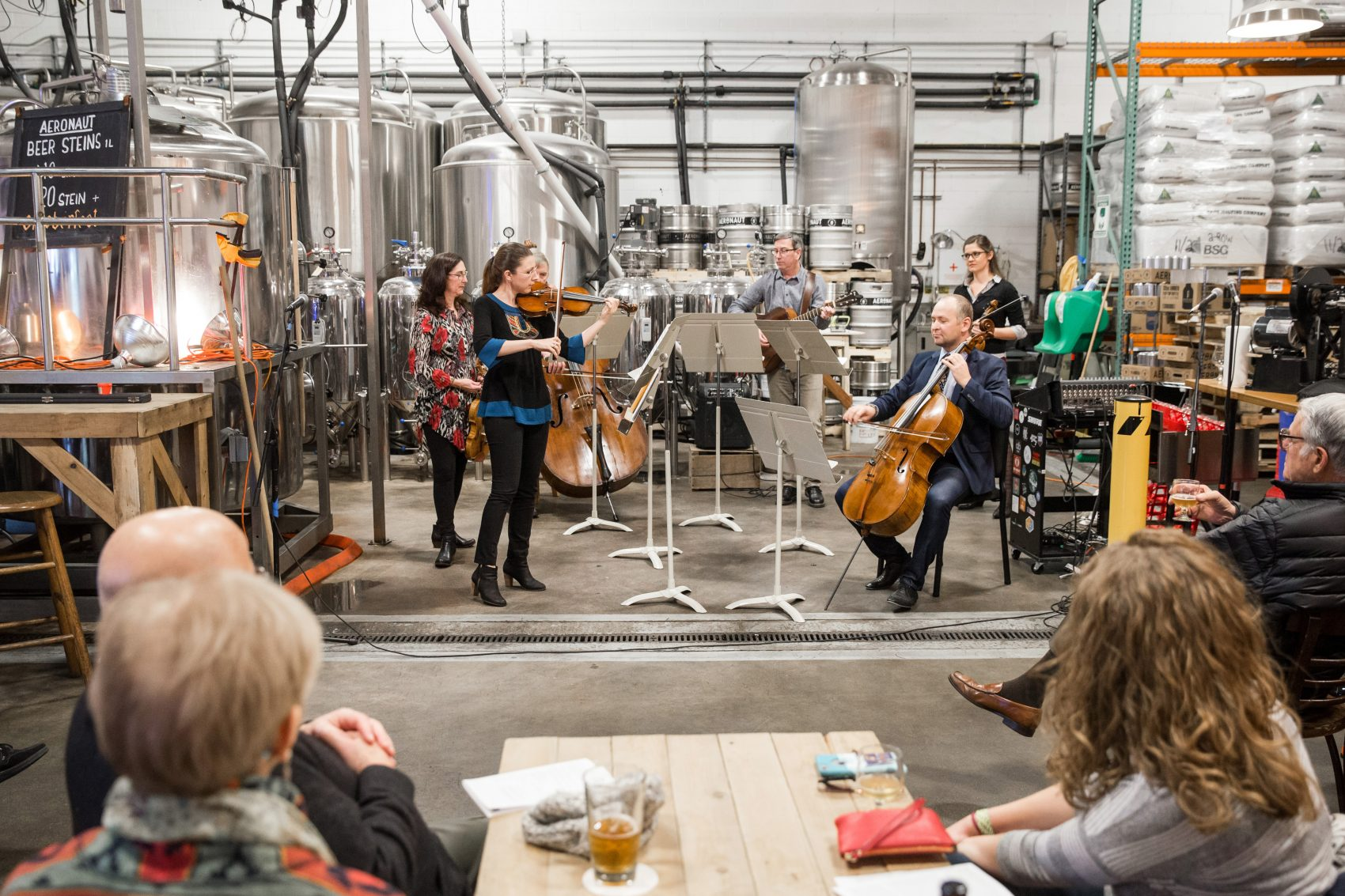 Members of the Boston Symphony Orchestra play at Aeronaut Brewing Company for a community program in 2016. (Courtesy Aram Boghosian/BSO)