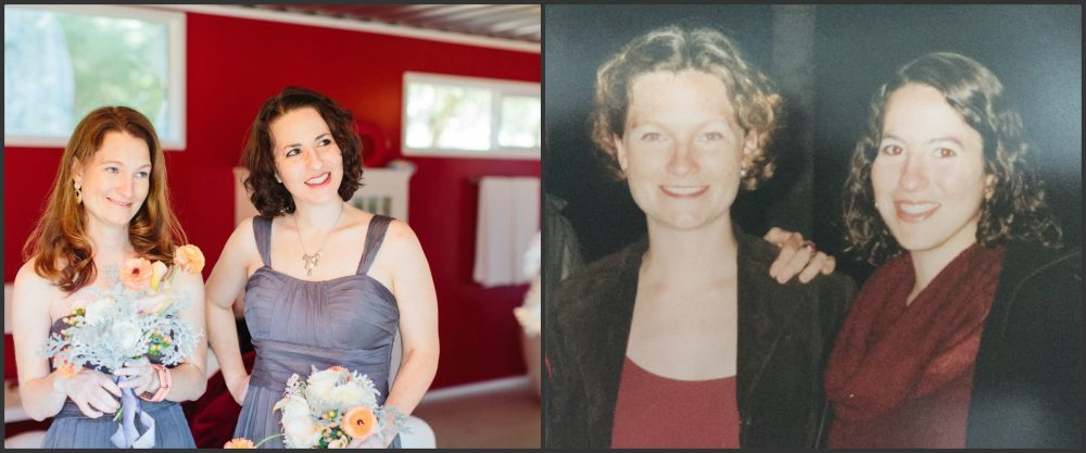 From Left: Diana Bramham and Loren Berlin at a friend's wedding, Diana and Loren in college (Courtesy)