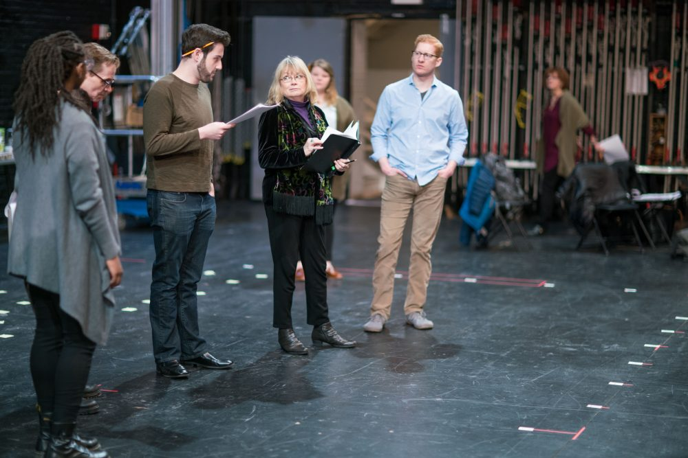 "The ""Finish Line"" cast in rehearsal onstage at the Shubert Theatre. (Courtesy Nile Scott/Boch Center)"