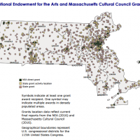 A map of where NEA grants are distributed in Massachusetts. (Courtesy National Endowment for the Arts)