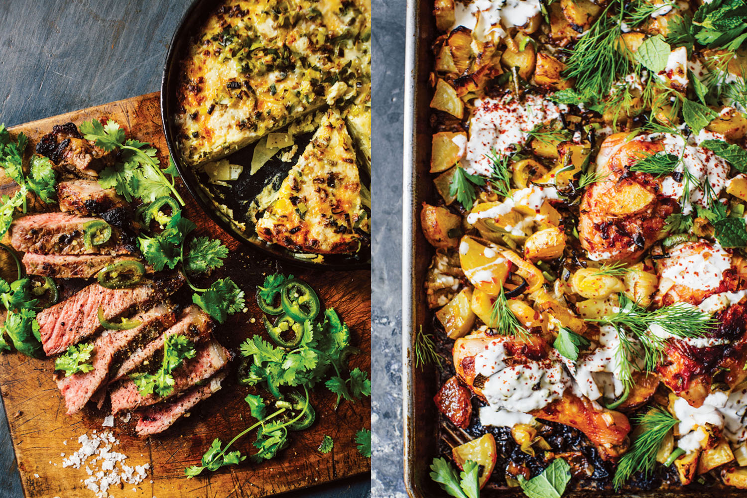 "Pictures of a jalapeno-honey steak and harissa chicken from Melissa Clark's new cookbook, ""Dinner."" (Eric Wolfinger / Courtesy Clarkson Potter)"