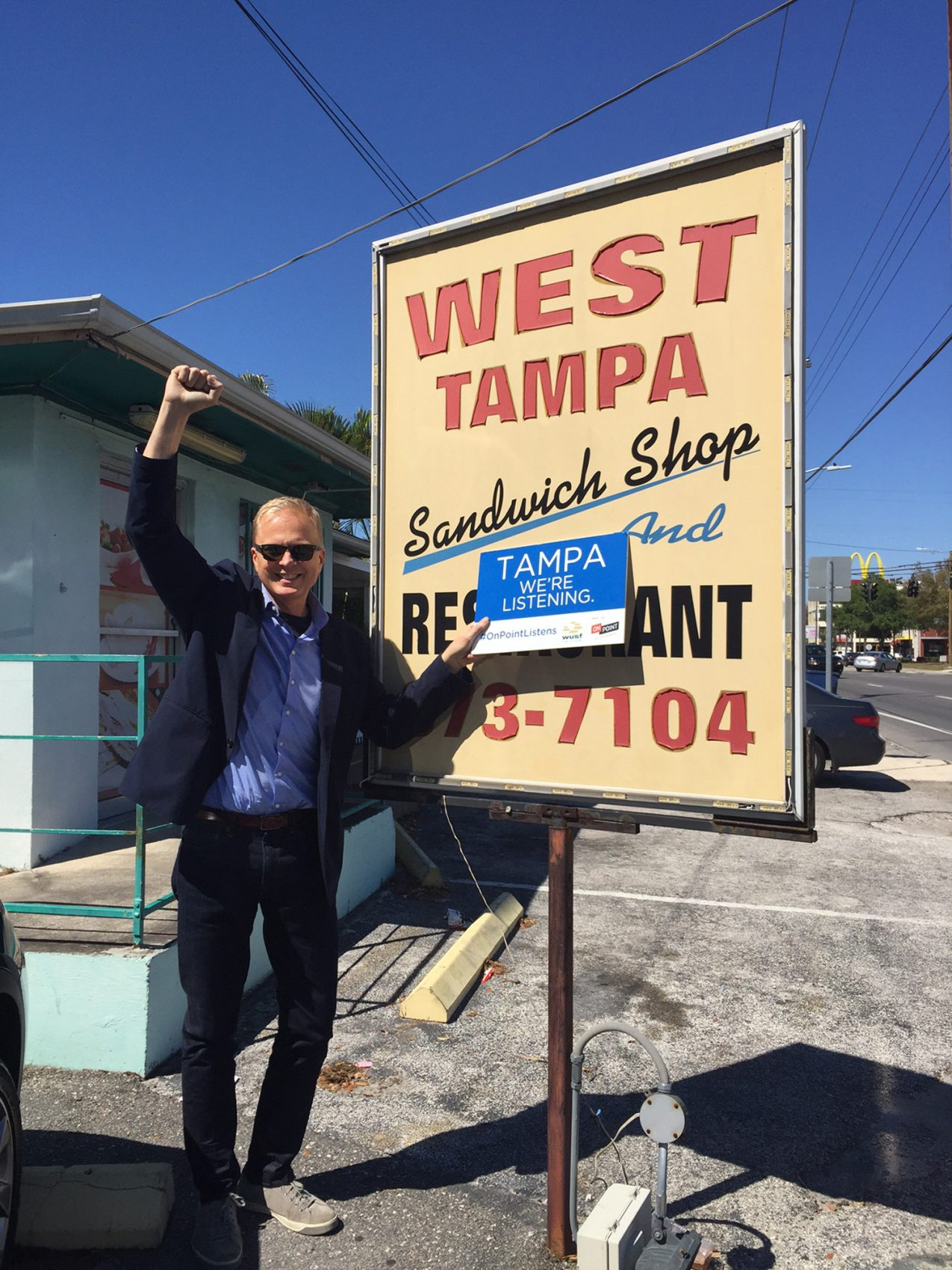Host Tom Ashbrook in front of the West Tampa Sandwich shop in Tampa, Florida. (Taina Ralli/WBUR)