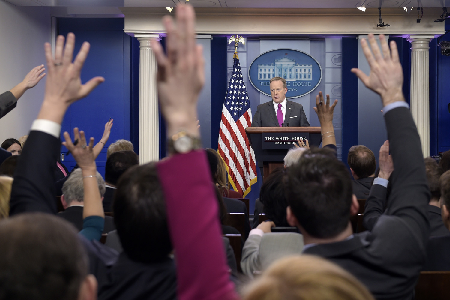 White House press secretary Sean Spicer speaks during the daily briefing at the White House in Washington, (Susan Walsh/AP)