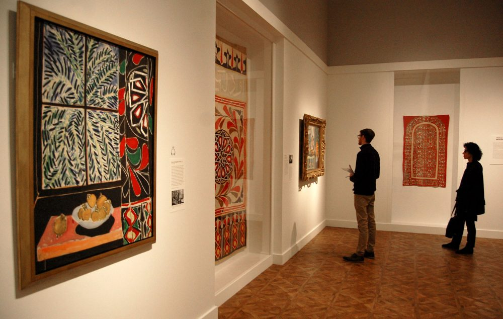 "Matisse's 1948 painting ""Interior with Egyptian Curtain"" (left) is deftly paired with the cotton textile (center) depicted in the right side of the artwork. (Greg Cook)"