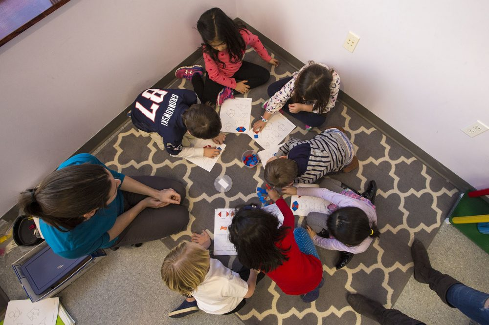 Studio of Engaging Math teacher Elina Starobinets with kindergarteners. (Jesse Costa/WBUR)