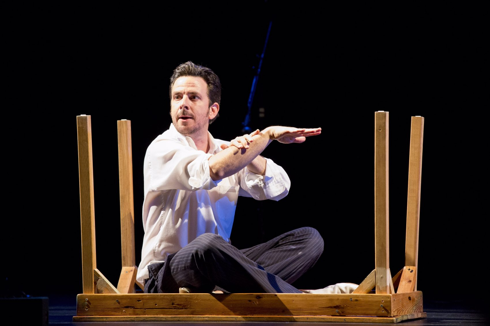 "Thaddeus Phillips in ""17 Border Crossings,"" which is now in production at ArtsEmerson. (Courtesy Marc Simpson)"