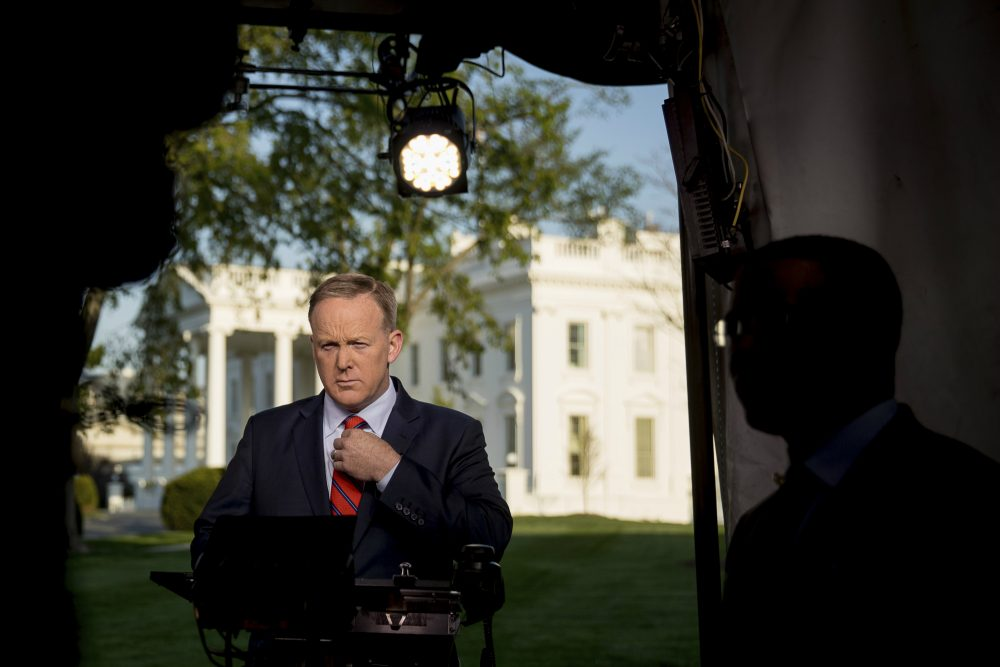 "Tom Keane: ""Does Spicer survive in the soon-to-come shakeup of White House staff?"" Pictured: White House press secretary Sean Spicer prepares to go on cable news Tuesday, April 11, 2017 to apologize for making an ""insensitive"" reference to the Holocaust. (Andrew Harnik/AP)"