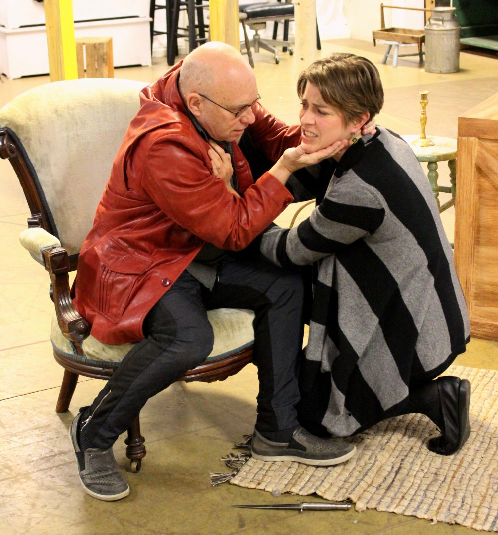 "Thomas Derrah rehearsing with Georgia Lyman in April for ""Gabriel"" at Stoneham Theatre. (Courtesy Stoneham Theatre)"