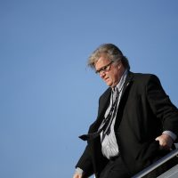 White House chief strategist Steve Bannon steps off Air Force One as he arrives Sunday, April 9, 2017, at Andrews Air Force Base, Md. (Alex Brandon/AP)