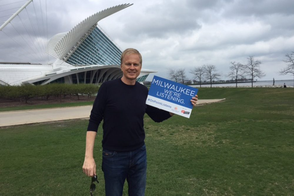 On Point host Tom Ashbrook, on location at the Milwaukee Art Museum for the fourth stop on our National Listening Tour. (Tania Ralli/WBUR)