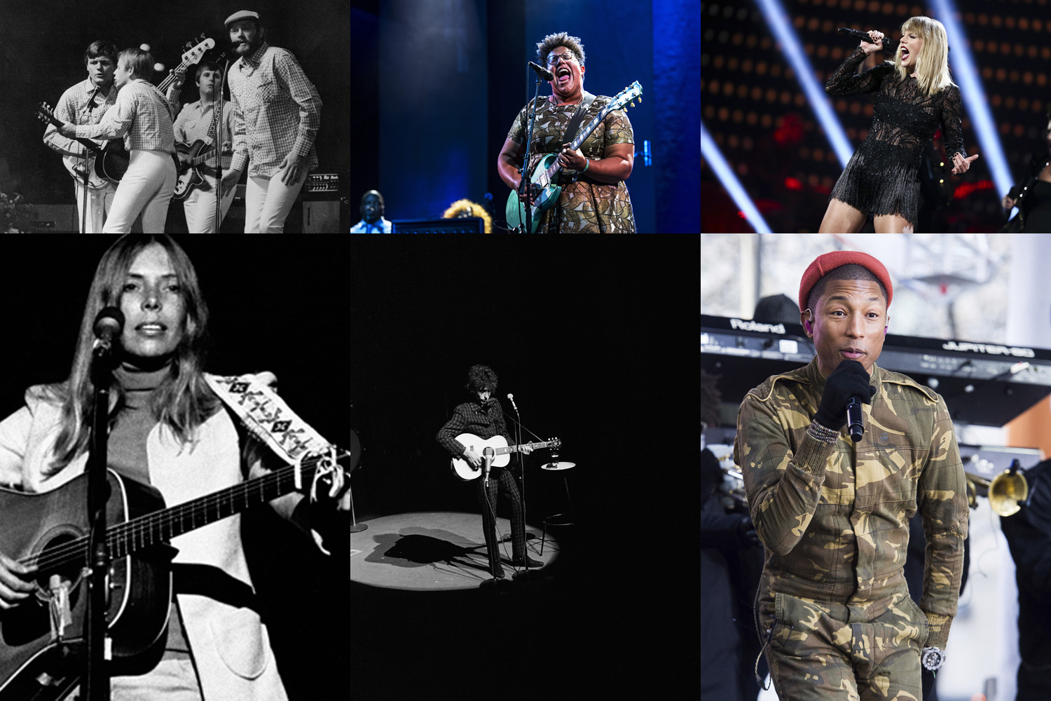 (Clockwise From Top Left) The Beach Boys, Brittany Howard of the Alabama Shakes, Taylor Swift, Pharrell Williams, Bob Dylan and Joni Mitchell in various performances throughout their respective careers. (AP/WikiCommons)