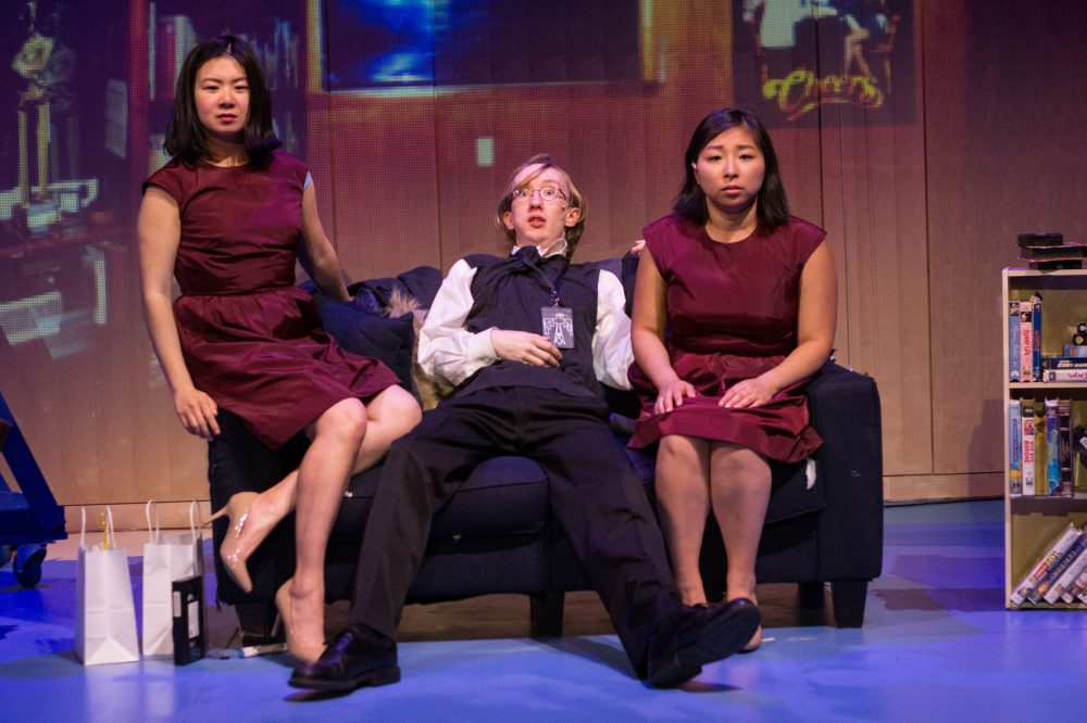 "Khloe Alice Lin as L, James Wechsler as D, and Kim Klasner as M in ""peerless."" (Courtesy Paul Fox/Company One)"