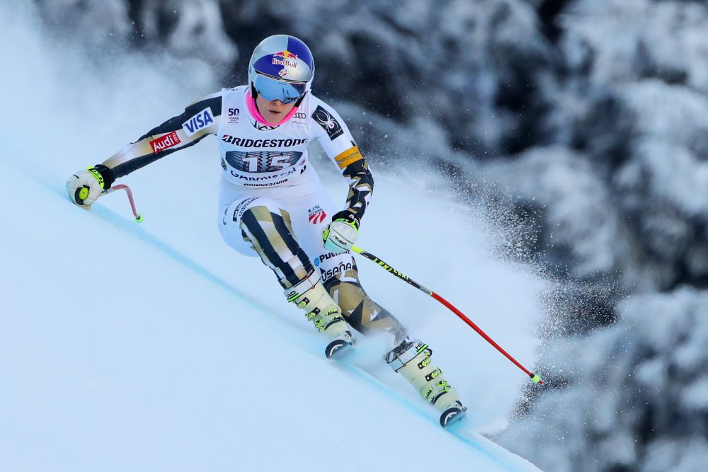 Lindsey Vonn wants to ski against men. Bill Littlefield says: why not? (Stanko Gruden//Getty Images)