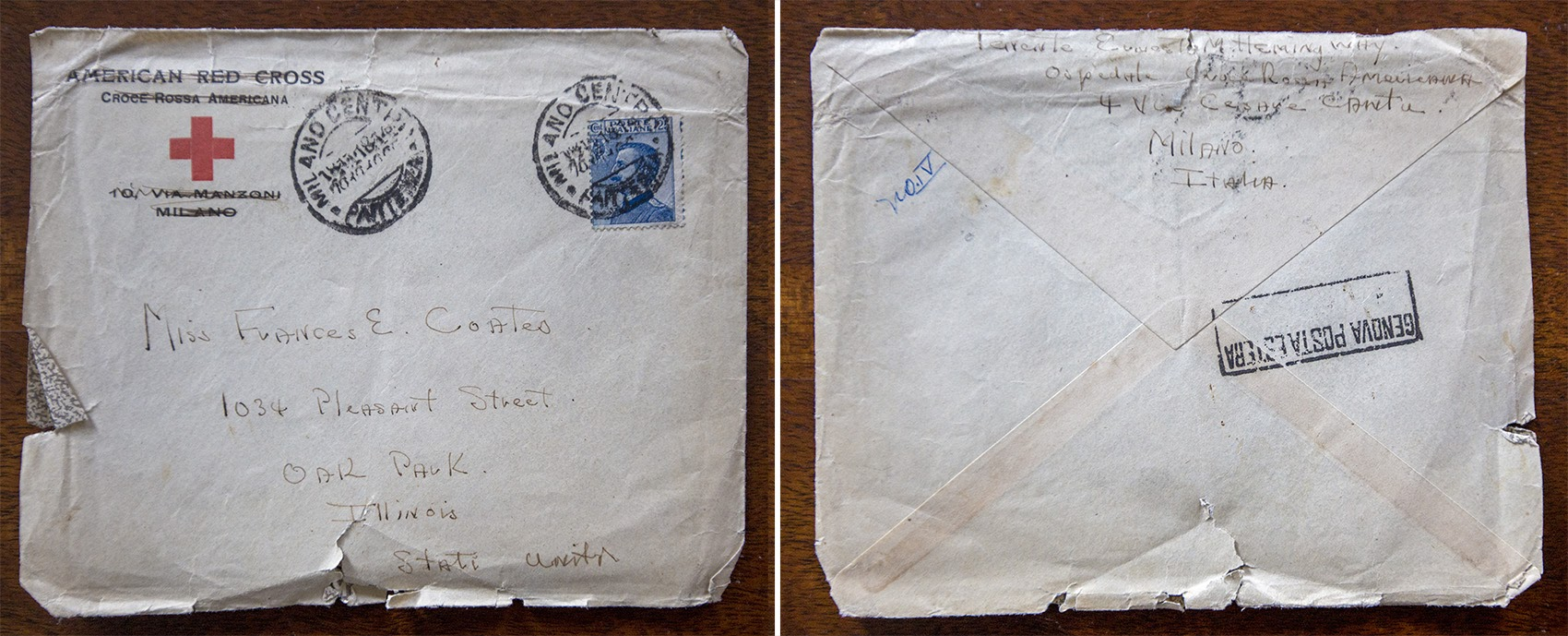 Front and rear of an envelope addressed to Frances Coates from Ernest Hemingway in 1918. (Jesse Costa/WBUR)