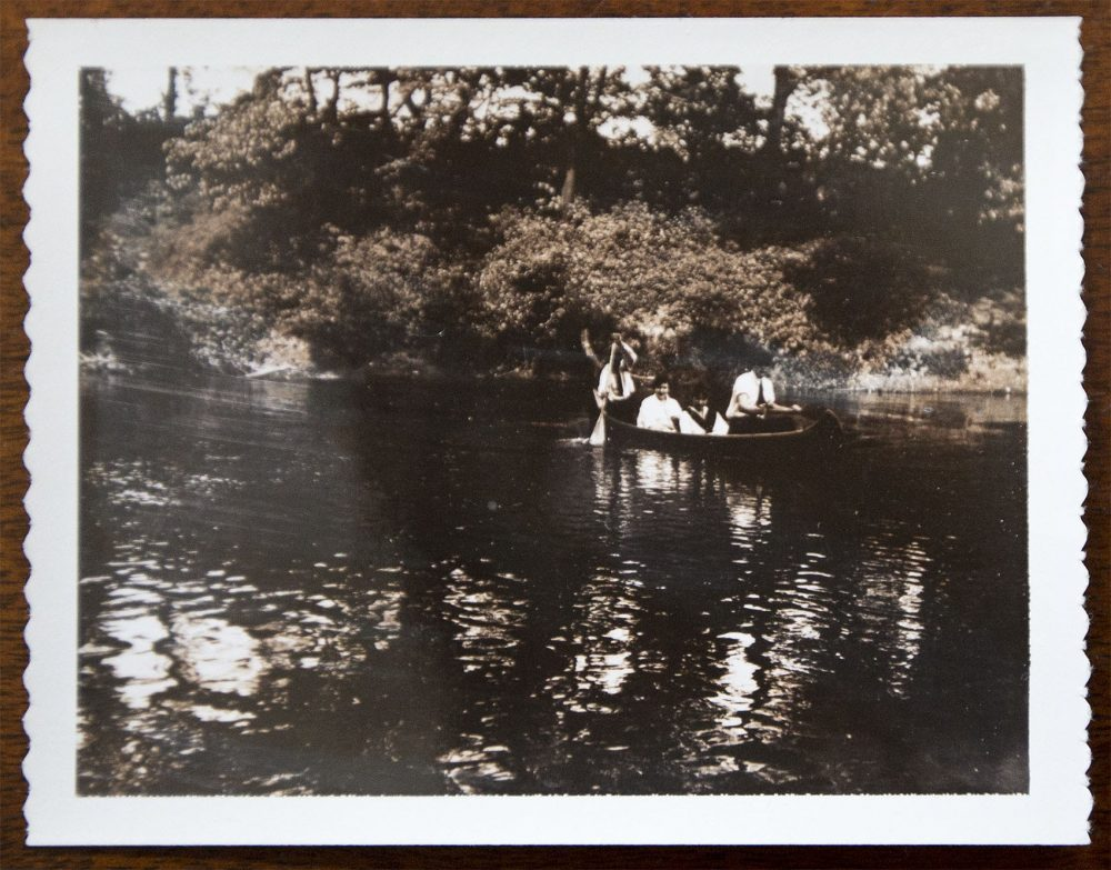 Photograph of a young Ernest Hemingway and Frances Elizabeth Coates on a canoe trip. (Jesse Costa/WBUR)