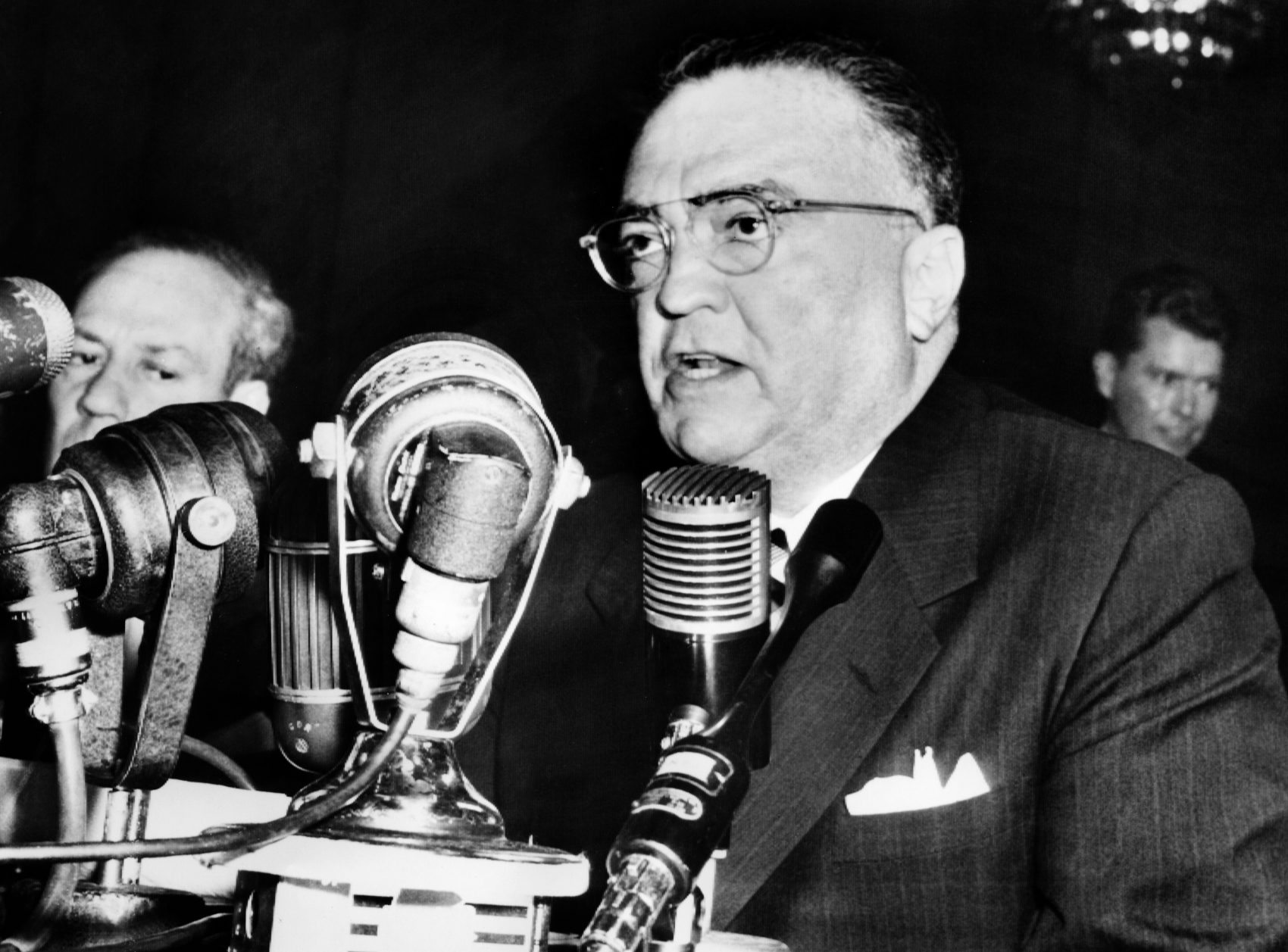 J. Edgar Hoover, director of the Federal Bureau of Investigation, gives a speech during testimony before a Senate committee in 1953 in Washington, D.C. (Bob Mulligan/AFP/Getty Images)