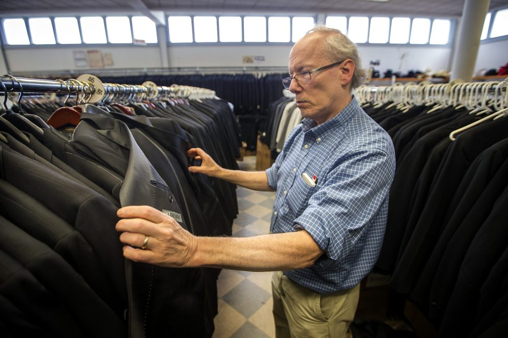 Len Goldstein bought Keezer's Classic Clothing from Max Keezer in 1978. He now plans to close the store on July 1 after selling the building it's in on River Street in Cambridge. After nearly 40 years of six-day work weeks, Goldstein says he's looking forward to traveling with his wife and watching his grandchildren grow up. (Jesse Costa/WBUR)